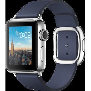 Image for Apple Watch Series 2 38mm Edelstahl silber mit Lederarmband blau M