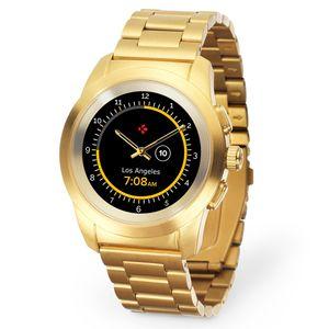 Image for MyKronoz ZeTime Elite hybride Smartwatch mit mechanischen Zeigern über einen runden Farbtouchscreen Regular Matt Gelb Golden / Metall Link