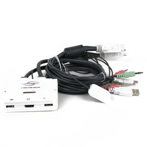 Image for linkskey 2-Port DVI USB KVM-Switch mit Audio Mikrofon schnellumschalter Fernbedienung Button Microphone and Speaker