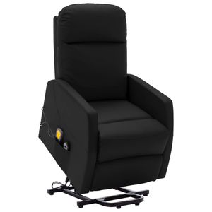 Image for vidaXL Massagesessel mit Aufstehhilfe Schwarz Kunstleder 6 Punkt Vibrationsmassage verstellbare Rückenlehne und Fußstütze