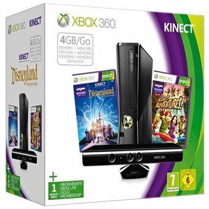 Image for Microsoft Xbox 360 S Schwarz 4GB Bundle inkl. Kinect Disneyland + Kinect Adventures!