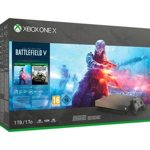 Image for Microsoft Xbox One X Gold Rush Special Edition Schwarz 1TB Bundle inkl. Battlefield V - Deluxe Edition + Battlefield 1 + Battlefield 1943