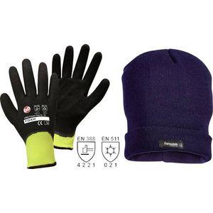Image for Worky Winterhandschuh Freezer Grip inkl. Upixx Strickmütze Jan Anthrazit 100 % Polyester mit Nitrilbeschichtung Größe 10