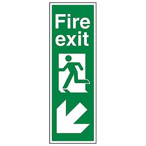 Image for vsafety 14041 ap-r''FIRE EXIT Arrow Down links'' Zeichen
